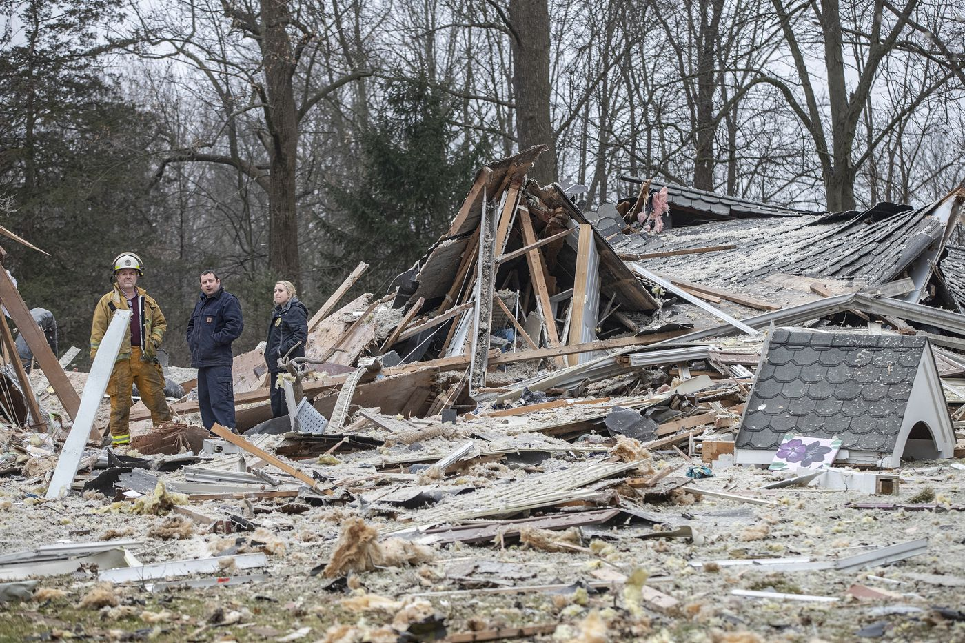 Bucks County house reduced to rubble after an explosion