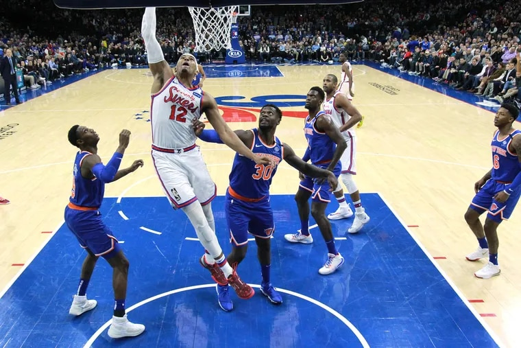 The Sixers' Tobias Harris goes up for two of his 23 points in the win over the Knicks.