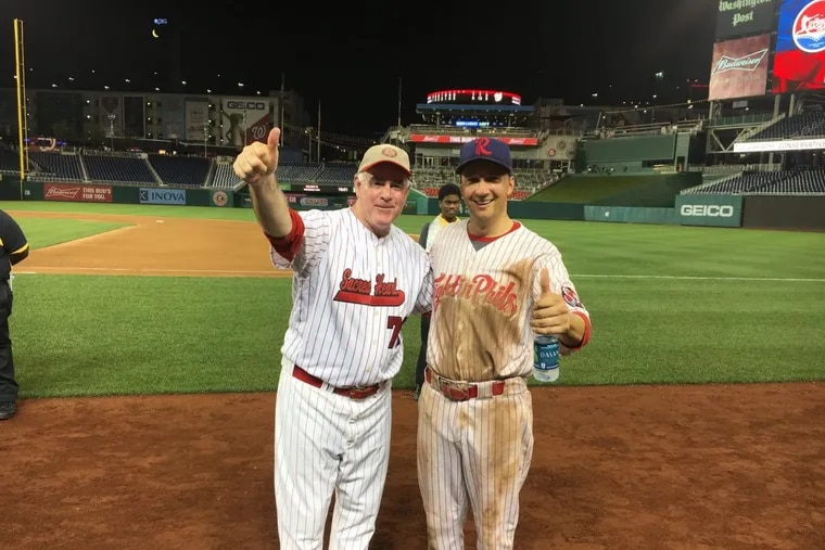U.S. Reps. Pat Meehan (left) and Ryan Costello, both Pennsylvania Republicans, at the 2016 Congressional baseball game in Washington. Both face heat as President Trump undercuts the Affordable Care Act and Democrats attack. {Photo courtesy of Costello's office.)