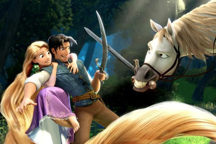 Rapunzel can spin her hair like a lasso, snap it like a bullwhip, swing it like a climbing rope.