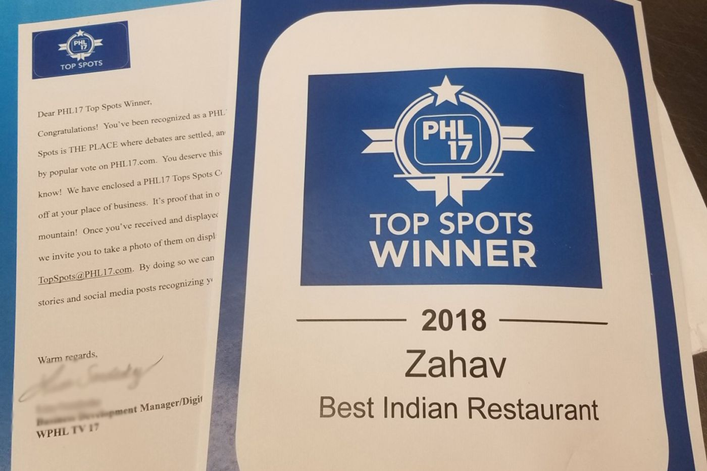 Congrats to Philly's top Indian restaurant — Zahav?!