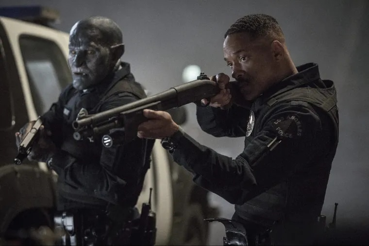 """Will Smith, right, and Joel Edgerton in a scene from, """"Bright."""""""