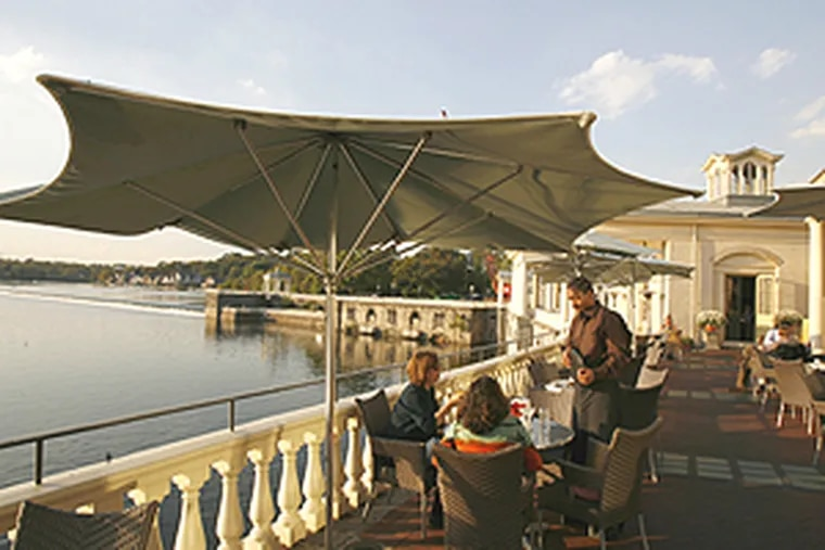 The outside dining area at the Water Works as it appeared in the fall. The Schuylkill is in the background.