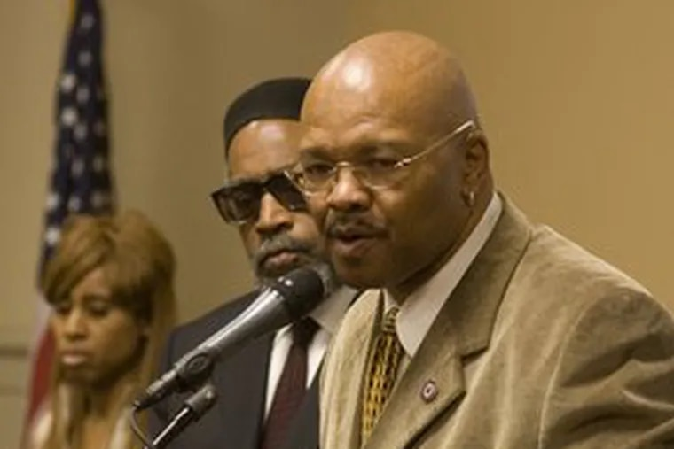 """Labor leader Sam Staten Jr., at a news conference yesterday about minorities and city construction, said he was """"totally against""""a City Council amendment. Story in Local."""