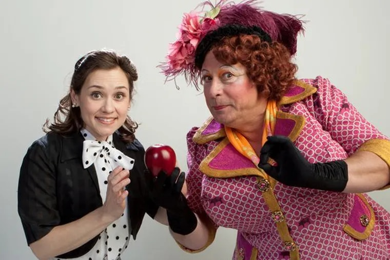 """Marla Burkholder and Mark Lazar (right) in the holiday panto """"Snow White"""" at People's Light & Theatre through Jan. 3."""