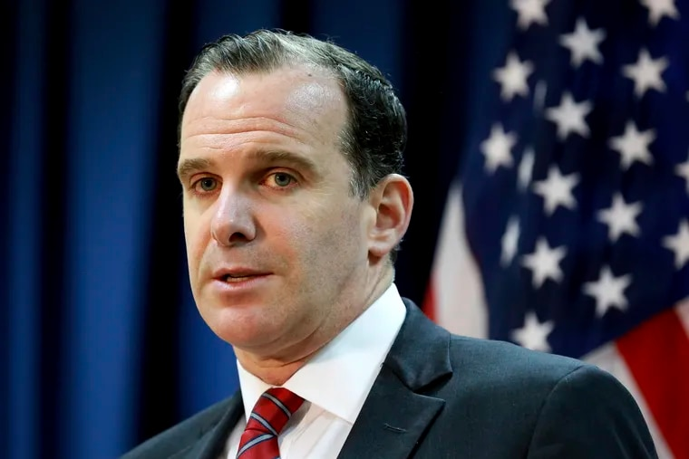 FILE - In this June 7, 2017 file photo, Brett McGurk, the U.S. envoy for the global coalition against IS, speaks during a news conference at the U.S. Embassy Baghdad, Iraq.  McGurk has resigned in protest to President Donald Trump's abrupt decision to withdraw U.S. troops from Syria, joining Defense Secretary Jim Mattis in an administration exodus of experienced national security officials.  AP Photo/Hadi Mizban)