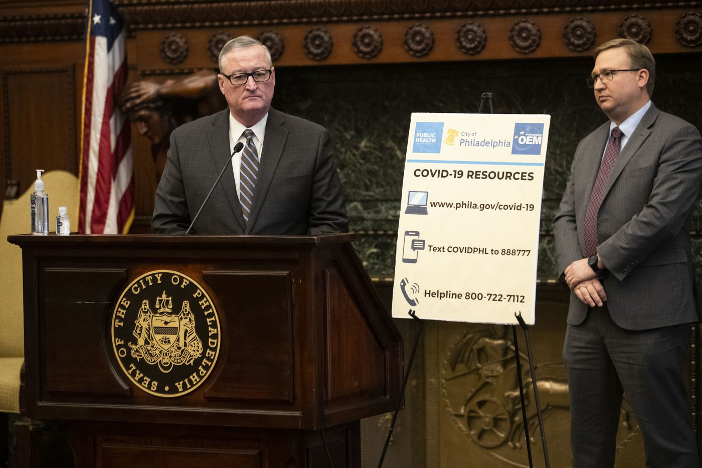 Mayor of Philadelphia Jim Kenney speaks during a press conference about the coronavirus at City Hall in Philadelphia, Pa. on Wednesday, March 18, 2020. Confirmed cases of the coronavirus are escalating across the country, including presumed positives in both Pennsylvania and New Jersey.