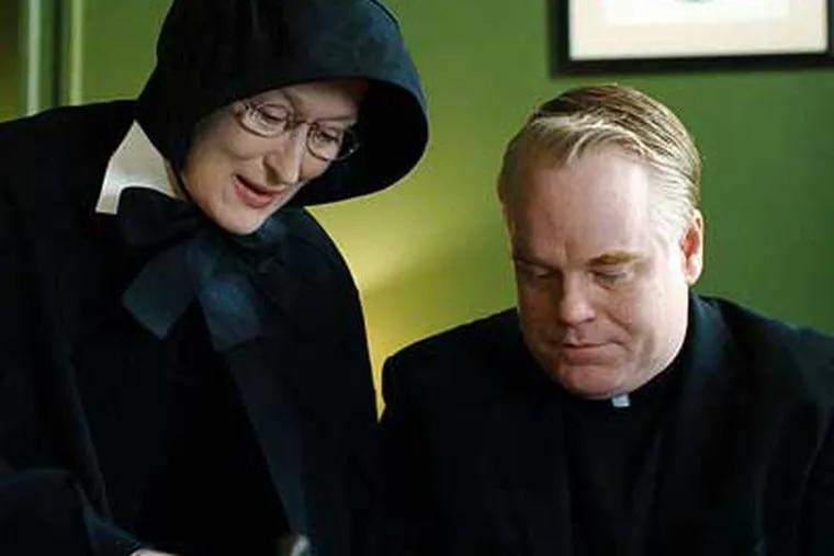 Meryl Streep as Sister Aloysius, Philip Seymour Hoffman as Father Flynn, facing off in a Bronx parish in 1964.