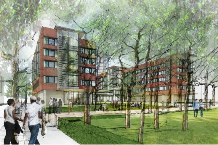 Artist's rendering of Penn's New College House West residential building, planned for a site bounded by Locust Walk, Walnut Street and 40th Street.