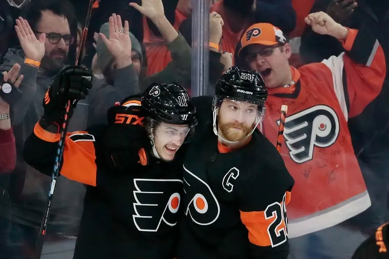 Will Travis Konecny (left), Claude Giroux (right) and the rest of the Flyers be back at their Voorhees training facility soon?