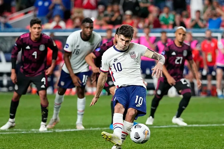 Christian Pulisic scored the winning penalty kick for the United States against Mexico in the Concacaf Nations League title game.