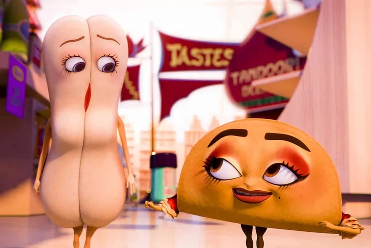 """Brenda (voiced by Kristen Wiig) and Teresa (Salma Hayek) in a scene from Seth Rogen's very raunchy, very funny """"Sausage Party."""""""