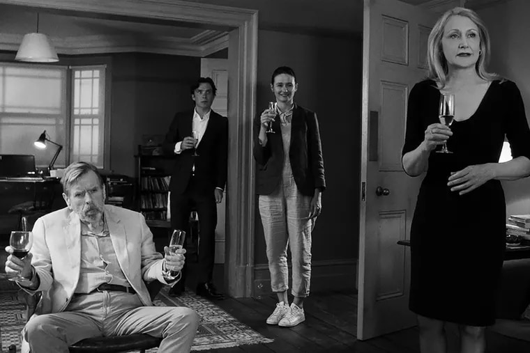"""Timothy Spall, Cillian Murphy, Emily Mortimer, and Patricia Clarkson in a scene from """"The Party."""""""