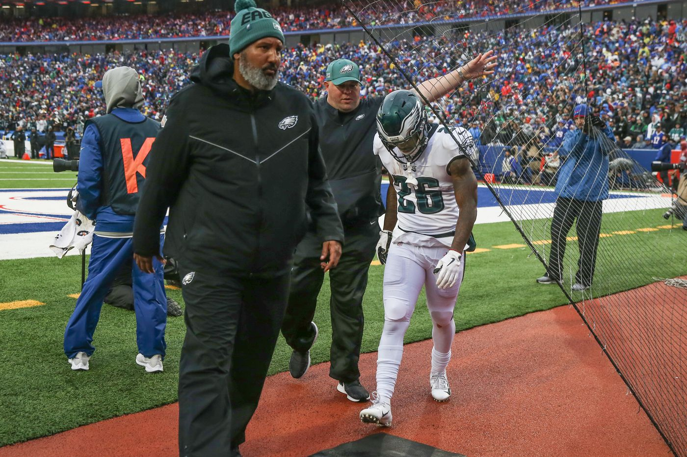 Eagles' Miles Sanders says shoulder injury X-rays were negative, and he 'should be fine, hopefully'