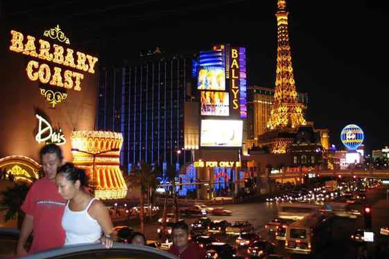 The Vegas Strip still beckons millions, but not as many as a year ago, and those who arrive spend less than before.Casino floors are half-empty during the day. Cabbies complain of longer waits. Airlines are cutting flights to the city.