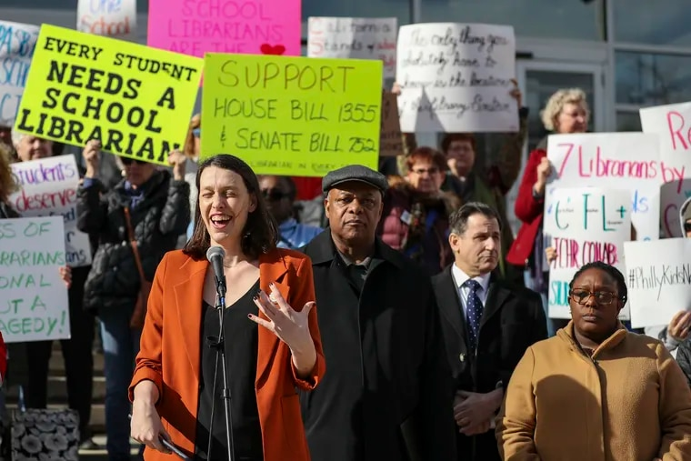 Lauren Comito, a founder of Urban Librarians Unite, speaks during a rally for more school libraries outside Philadelphia School District headquarters. Philadelphia has the worst school librarian-student ratio in the country, according to the Pennsylvania School Librarians Association.