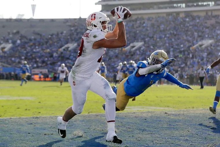 Eagles wide receiver JJ Arcega-Whiteside catching a touchdown pass at Stanford.