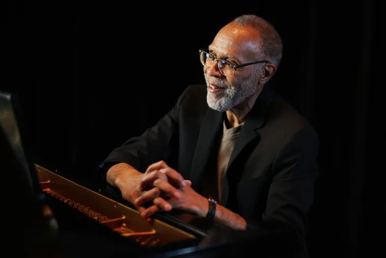 """Pianist Jawanza Kobie at the Philadelphia Clef Club of Jazz and Performing Arts in South Philadelphia on Wednesday, March 10, 2021. He released his second album, """"Jawanza Kobie Jazz Composer,"""" on Feb. 26."""