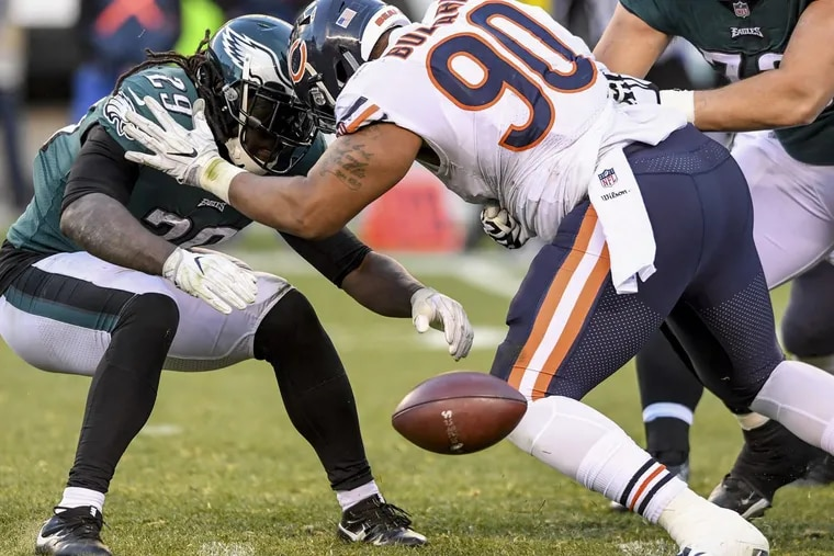 Eagles running back LeGarrette Blount fumbles the ball in the 4th quarter of the game November 26, 2017 against the Bears at Lincoln Financial Field. The Bears recovered the ball but the Eagles won 31-3. CLEM MURRAY / Staff Photographer