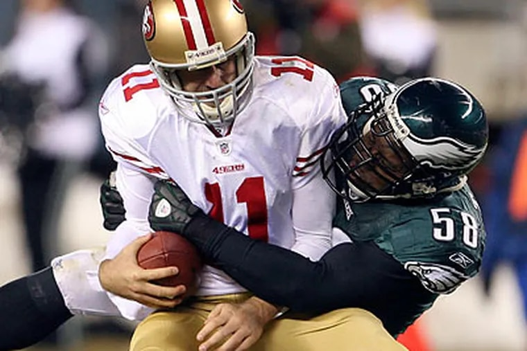 Trent Cole recorded two of the Eagles' three sacks of 49ers quarterback Alex Smith in the Birds' 27-13 win. (Yong Kim/Staff Photographer)