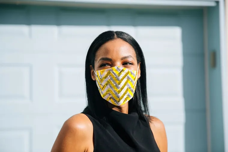 This chevron face mask ($39) comes courtesy of Philadelphia-based fashion brand fashion and accessories brand Simitri, and coincidentally features the 2021 Pantone Colors Of The Year: Illuminating and Ultimate Gray.