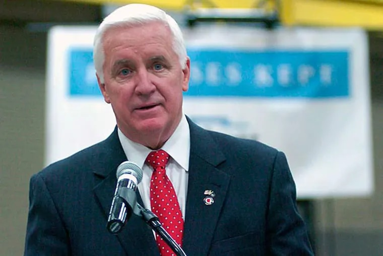 Pennsylvania Governor Tom Corbett speaks during a stop at Linde Enterprises,  as part of statewide tour kicking off his re-election campaign, Wednesday, Nov. 6, 2013 in Pittston Township, Pa. (AP Photo/The Citizens' Voice, Mark Moran)