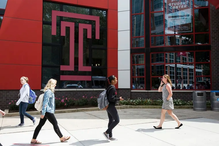Students on Temple University's campus last August. The school has moved its courses online due to the ongoing coronavirus pandemic.