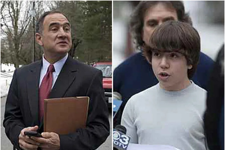 Mark S. Haltzman (left), attorney for Blake Robbins (right), a Lower Merion student who sued the school district. (Ed Hille/File)