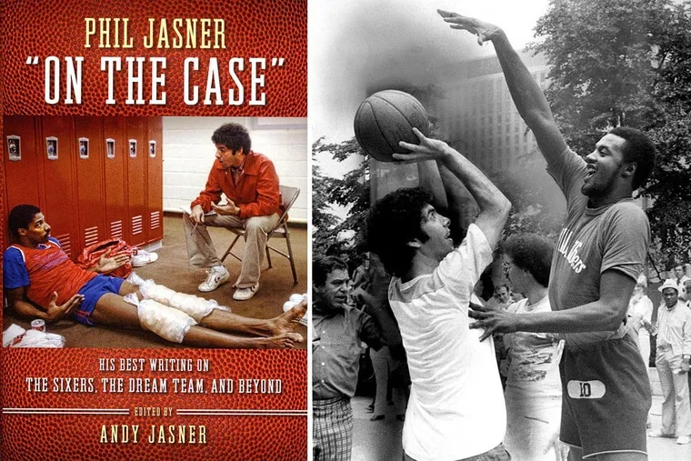 """The cover of the book (left), and Phil Jasner shooting against Joe """"Jellybean"""" Bryant at a """"76 Days of Fun"""" event in August 1977."""