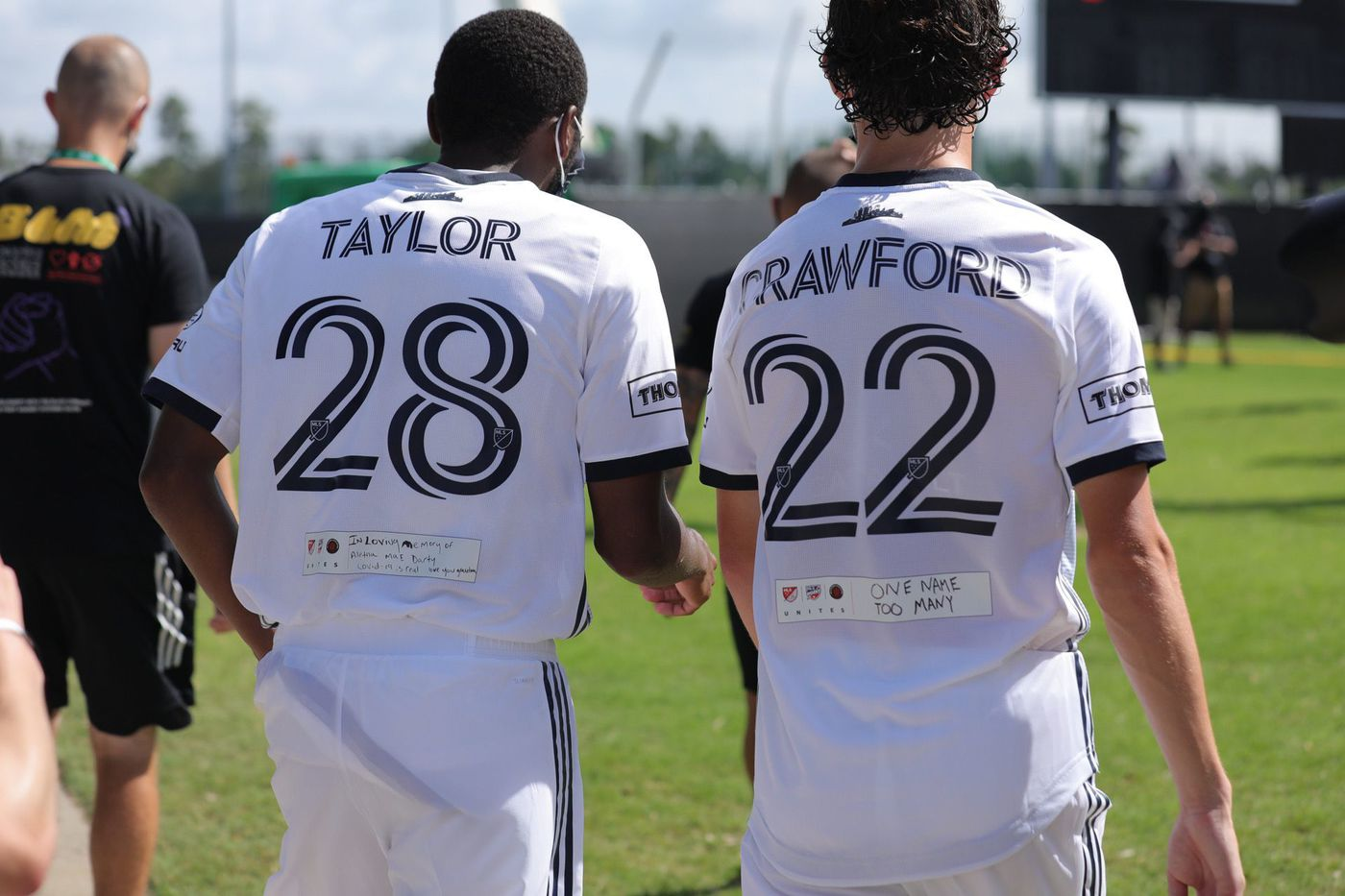 Union defender Ray Gaddis wore the name of the slain Breonna Taylor on his jersey; and midfielder Brenden Aaronson wore the name of Tyree Crawford.