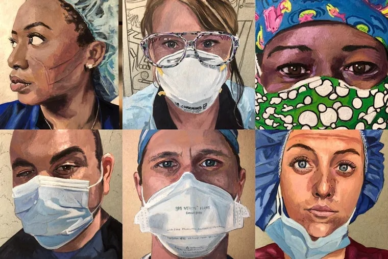 Steve Derrick has been painting medical workers around the world since April and has created more than 120 portraits so far.