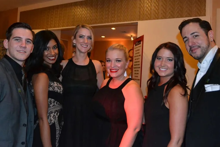 (From left) Rob Spatola, Alisha Sawant, Courtney O'Donnell, Katelyn Klama, Lauren Mickel, and Eric Alayon at the Donors are Heroes THE Party at the Four Seasons Hotel Philadelphia, where more than 400 attendees raised money for the Gift of Life Donor Program and its charitable supporting organization, the Transplant Foundation.