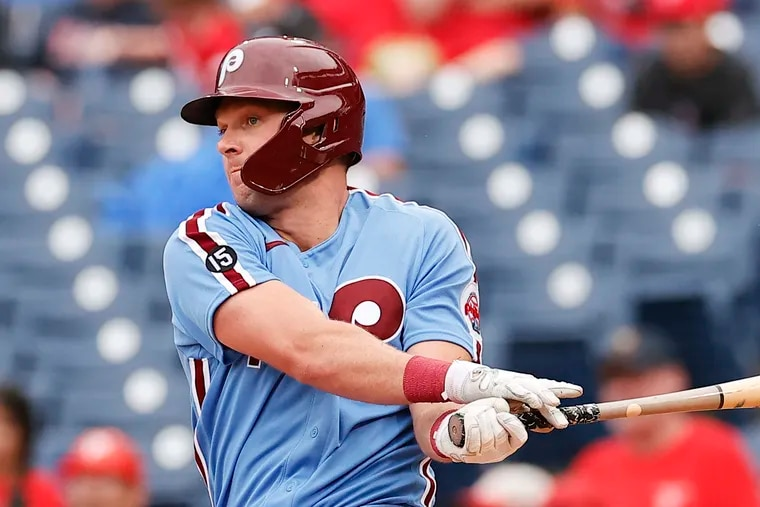 Phillies first baseman Rhys Hoskins leads the team with 27 home runs.