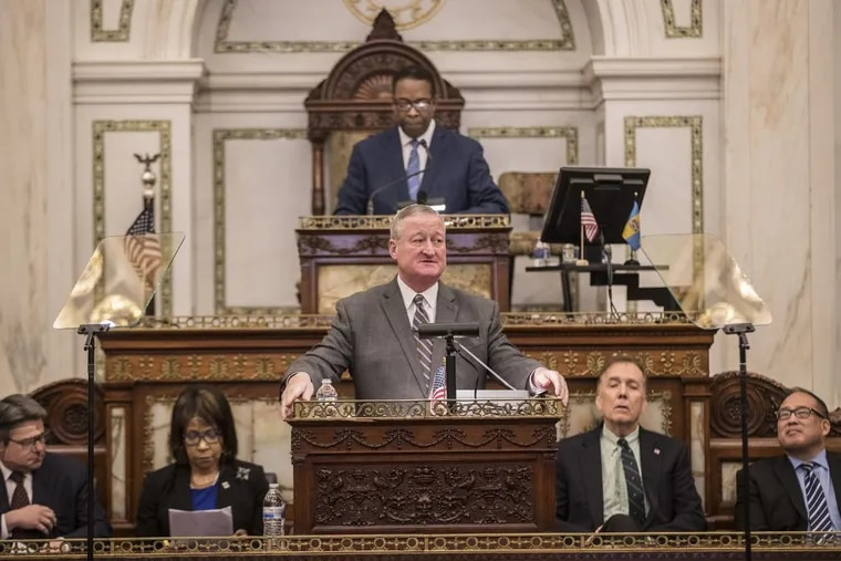Philadelphia Mayor Jim Kenney, center, with City Council President Darrell L. Clarke standing behind him and several council members seated next to him, begins his third budget address to City Council on Thursday March 1, 2018. MICHAEL BRYANT / Staff Photographer