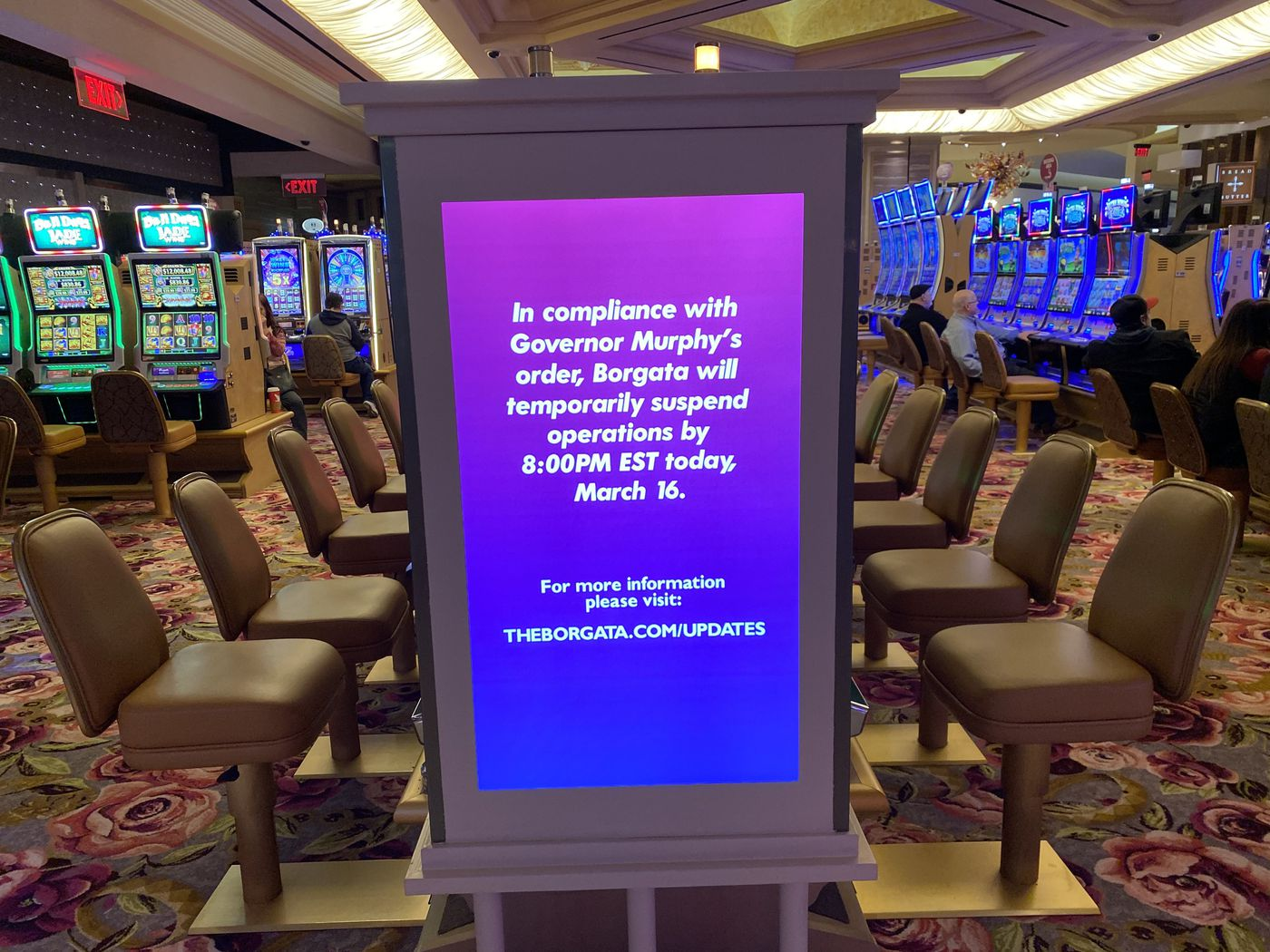 At Borgata Hotel and Casino in Atlantic City, the casino floor was emptying out as displays told of the shutdown.