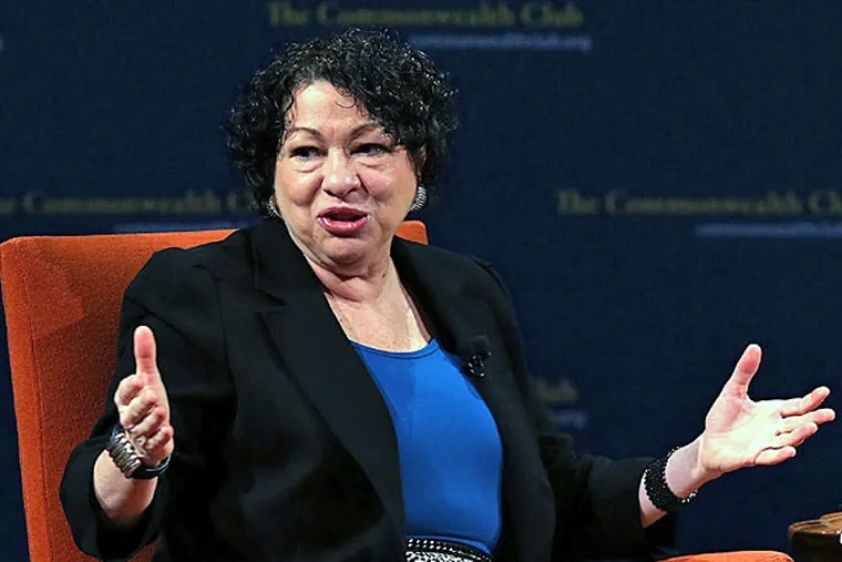 """US Supreme Court Associate Justice Sonia Sotomayor speaks during a Commonwealth Club event at Herbst Theatre on January 28, 2013 in San Francisco, California. Sotomayor spoke in conversation with Stanford law school dean Mary Elizabeth Magill at the Commonwealth Club as she promotes her new book """"My Beloved World""""  (Photo by Justin Sullivan/Getty Images)"""