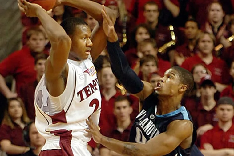 Temple's Lavoy Allen scored 10 points and pulled down 17 rebounds in the Owls' upset of Villanova. (Sarah J. Glover/Staff Photographer)