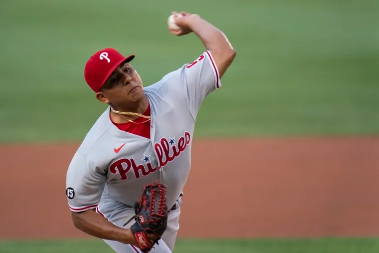 Phillies pitcher Ranger Suarez throws during the first inning against the Washington Nationals on Monday.