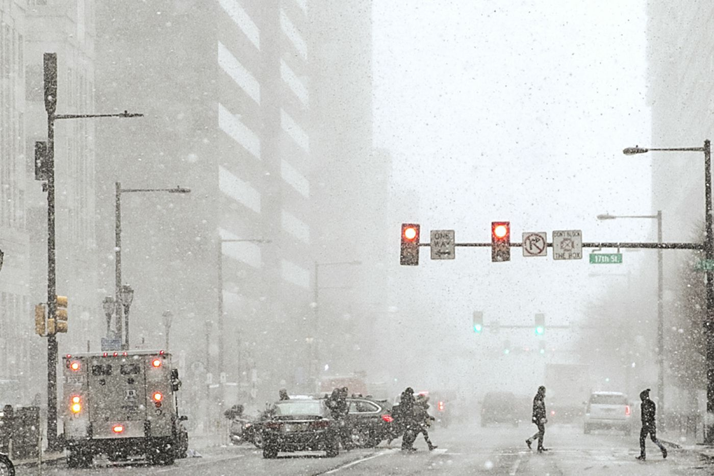 Snow Squall Hits Philadelphia On Wednesday Afternoon