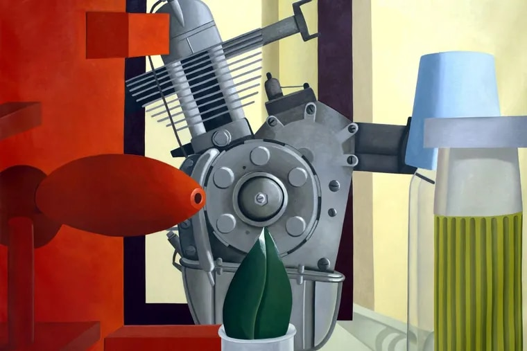 """Detail from Nathalie du Pasquier's """"Con la foglia di magnolia"""" (2005-06), oil on canvas, courtesy of Kunsthalle Wien and the Institute of Contemporary Art at the University of Pennsylvania."""
