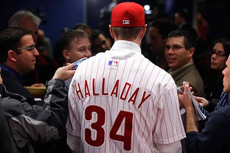 """New Phillies pitcher Roy Halladay is introduced to the media. """"This is where I wanted to be,"""" he said. (Clem Murray / Staff Photographer)"""