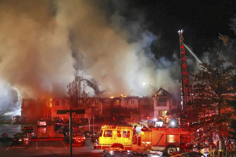 Firefighters battle a five-alarm blaze at the Barclay Friends Nursing Home in West Chester on Nov. 16, 2017.