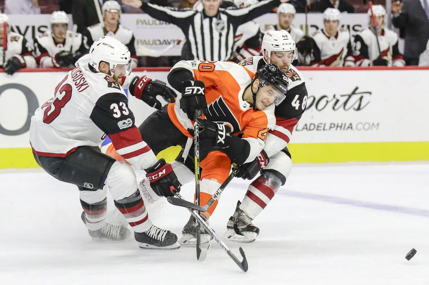 Taylor Leier replacing Tyrell Goulbourne in Flyers' lineup against Rangers
