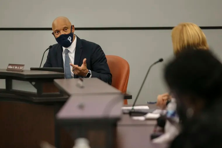 Superintendent William R. Hite, Jr. addresses members of the Philadelphia school board at Thursday's meeting. Hite said a special meeting will likely be called next week to consider a vaccination mandate.