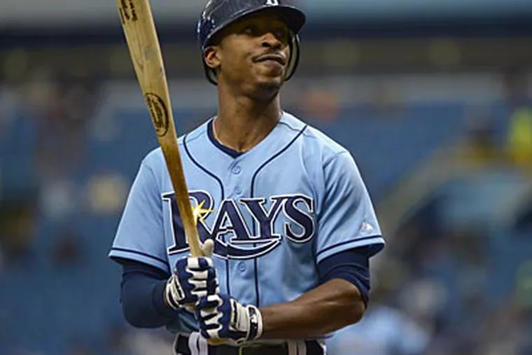 Tampa Bay Rays' B.J. Upton looks into the stands before batting during the first inning of a baseball game against the Toronto Blue Jays in St. Petersburg, Fla., Sunday, Sept. 23, 2012. The Rays won 3-0.(AP Photo/Phelan M. Ebenhack)