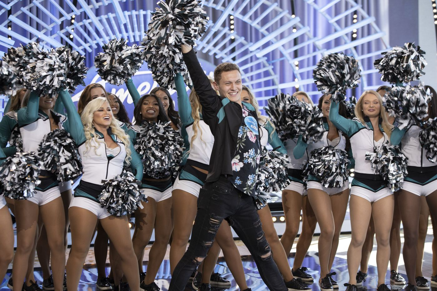 The Eagles' first male cheerleader in three decades auditioned for 'American Idol' with the help of his squad