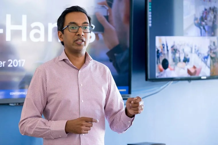 Apu Gupta, CEO and cofounder, during a staff meeting at the Curalate offices in Philadelphia.
