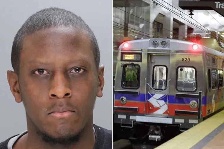 Reginald Green (left) is accused in an assault at SEPTA's Jefferson Station. (Photos from Philadelphia police and Steven M. Falk/Staff)