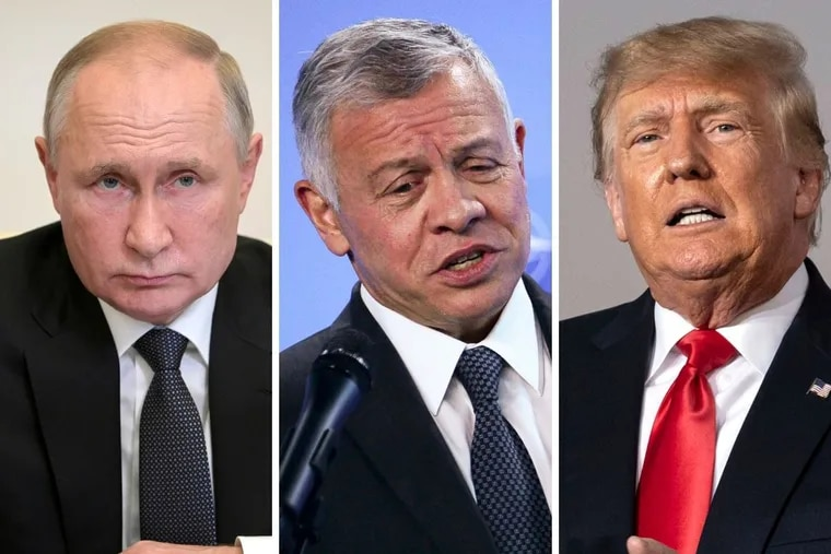 Russian President Vladimir Putin, left, and Jordanian King Abdullah II bin Al-Hussein, center, were cited by the Pandora Papers. Former U.S. President Donald Trump, right, was not.