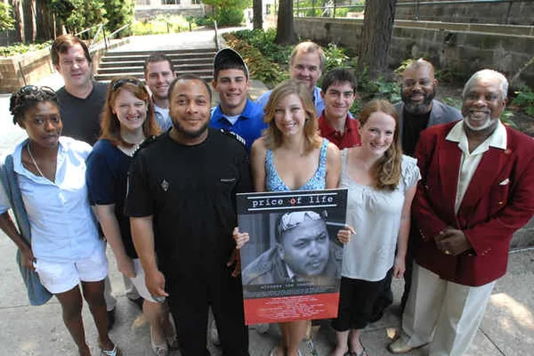 Villanova students and others involved in the making of a film about reformed drug dealer Robert Ali Childs (third from left). Their assignment was to document positive change in Phila.